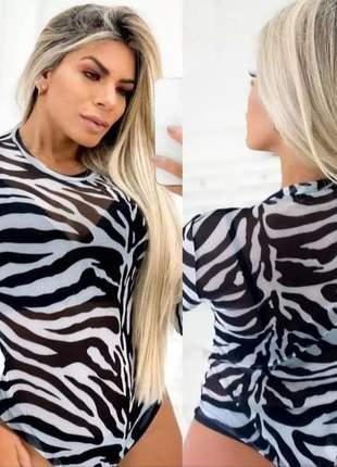 Blusa body tule oncinha, exército, zebra