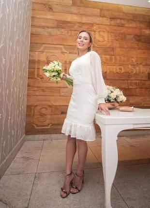 Vestido de casamento civil ou noivado batizado festa moda evangelica vestido off white