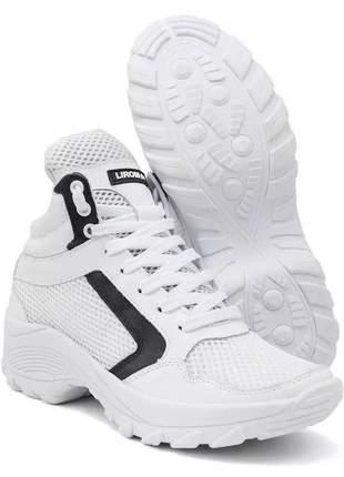 Tênis feminino chunky sneaker lirom casual em couro onça nude/branco