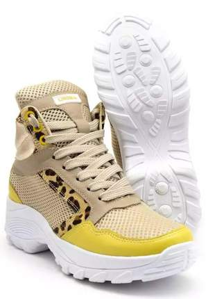Tênis feminino chunky sneaker lirom casual em couro onça nude/amarelo, cor amarelo