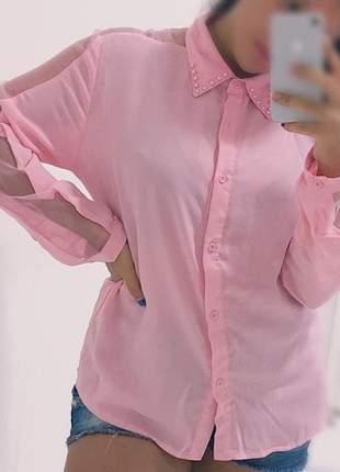 Camisa feminina tule rosa manga longa