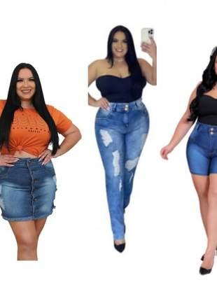 Kit plus size jeans dolce sedutti saia, short e calça dj0150