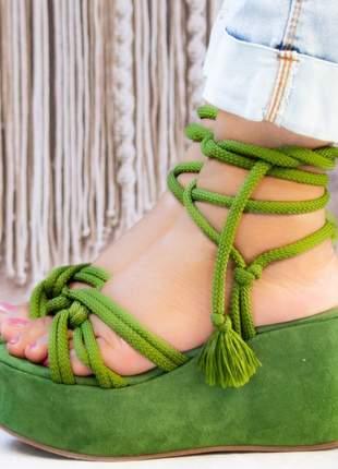 Anabela feminina tendência amarração verde