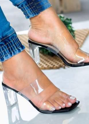 Sandália salto cristal preto duas tiras vinil