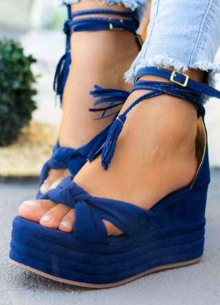 Anabela feminina salto médio azul ane