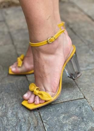 Sandália salto cristal transparente