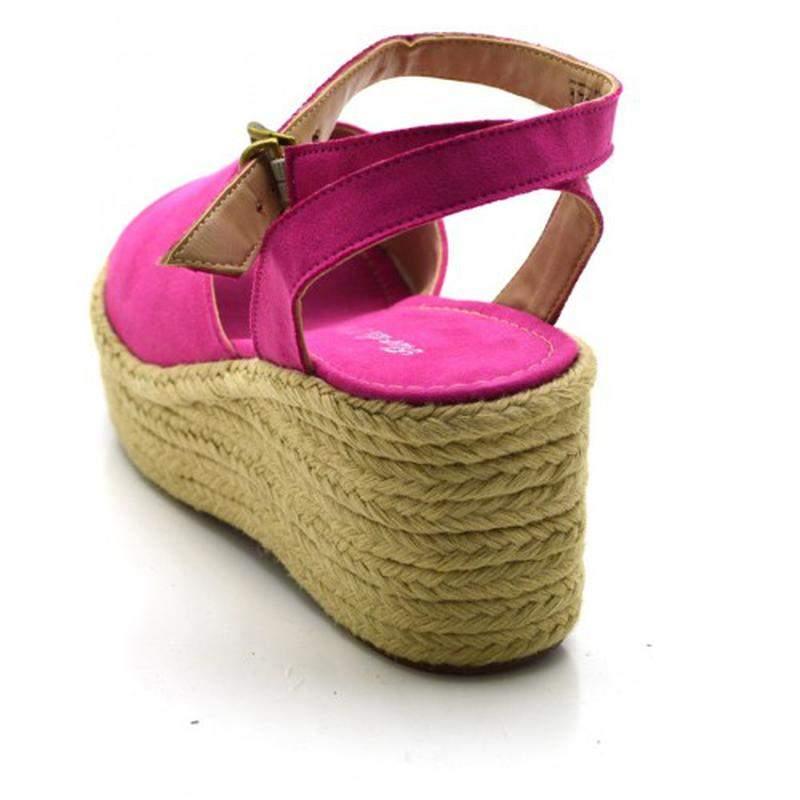 ba675f848 Sandália anabela salto médio em camurçado rosa pink - R$ 119.90 ...