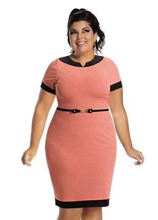 Vestido plus size rosê tubinho social com manga canelado