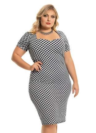 Vestido plus size social tubinho xadrez