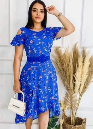 Vestido feminino estampado azul c/ cinto