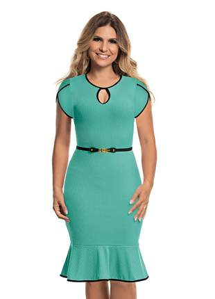 Vestido tubinho social verde evangelico