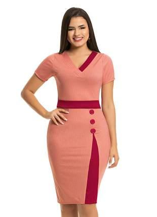 Vestido tubinho social justo evangelico rose