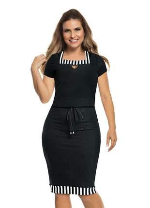 Vestido tubinho midi preto justo social bicolor