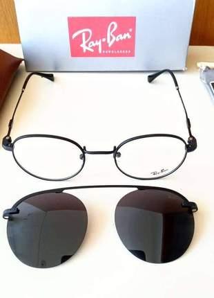 Óculos 2 em 1 ray ban clip on solar + armação para gráu unissex