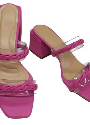 Tamanco feminino tira salto bloco fashion sandália trança