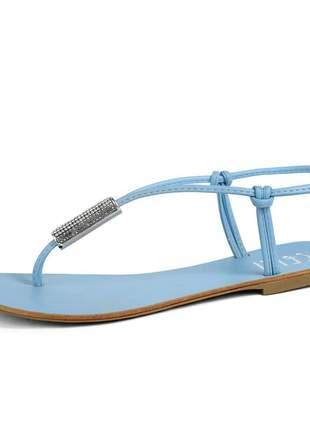 Sandália rasteira tiras macia e confortável