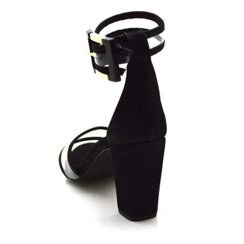 958ad01ebe Sandália salto alto grosso em nobucado preto com transparência - R ...