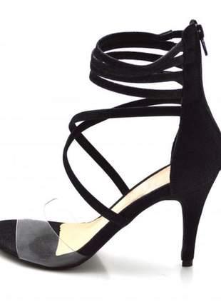 Sandália salto alto meia cana em nobucado preto com transparência