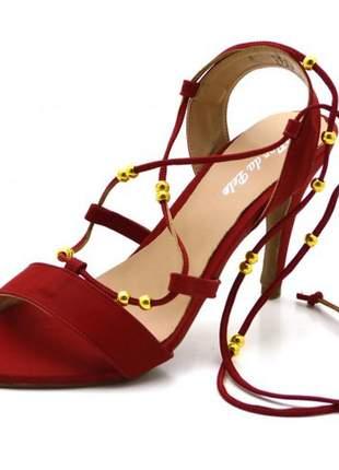 Sandália aberta salto alto gladiador em nobucado vermelho