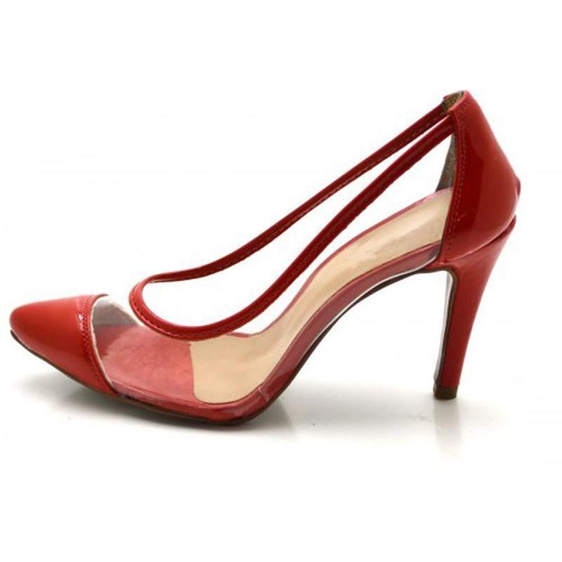 ee1e66150e Sapato scarpin salto alto fino em verniz vermelho com transparência1 ...