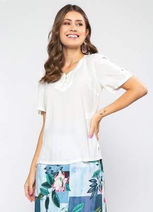 Blusa lisa feminina de manga curta off white - 06112