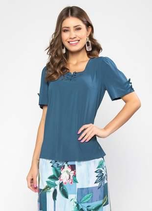Blusa lisa feminina de manga curta petróleo -06112
