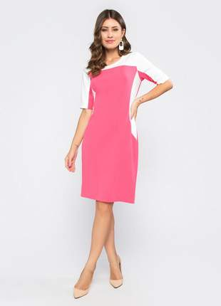 Vestido feminino manga curta tubinho bicolor rosa - 11601