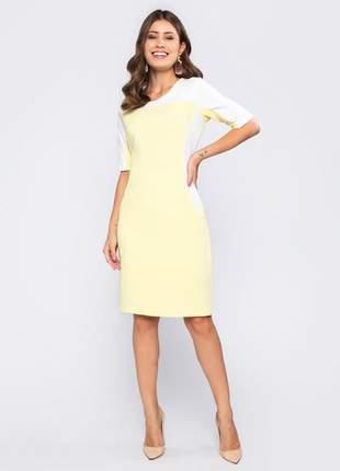 Vestido feminino manga curta tubinho bicolor amarelo - 11601