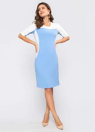 Vestido feminino manga curta tubinho bicolor azul - 11601