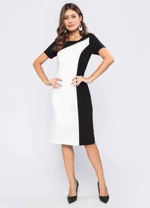 Vestido com manga curta tubinho bicolor preto e branco -11602