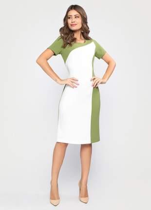 Vestido com manga curta tubinho bicolor verde e branco - 11602