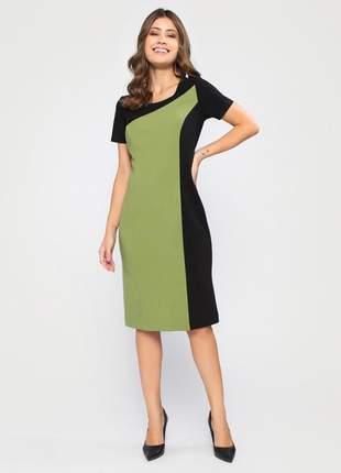 Vestido com manga curta tubinho bicolor preto e verde - 11602