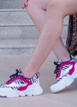 Tênis feminino confortável zebra pink recorts