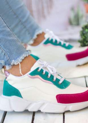 Tênis feminino confortável branco verde recorts