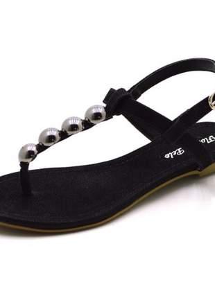 Sandália rasteira com tira reta e meia bola em nobucado preto