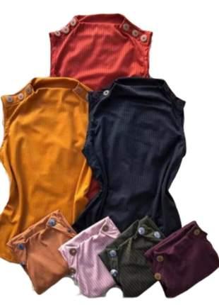 Blusa blusinha regata gola canelado botões femininas blogueira