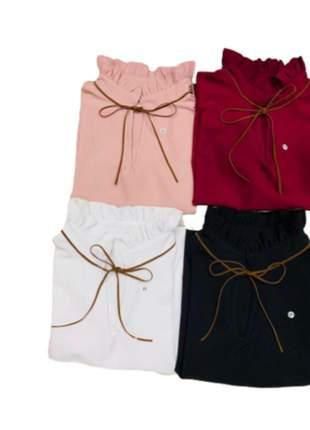 Blusa feminina moda evangélica gola alta cordão laço suede manga curta