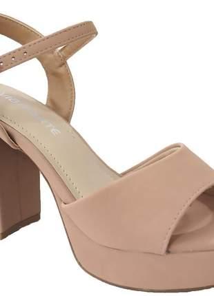 Sandália meia pata salto grosso casual feminina nude básica via marte 2117903