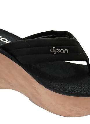 Tamanco anabela alto dijean feminino preto confortável coleção verão 276p