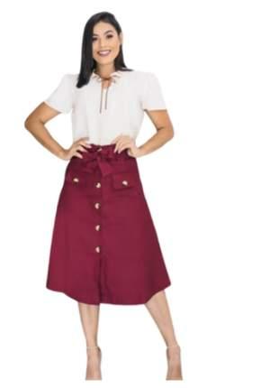 Saia midi moda evangélica bolsos e botões frontal roupas femininas