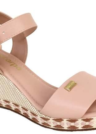 Sandália anabela casual nude com detalhes feminina via scarpa básica 142712350