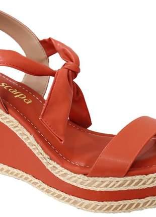 Sandália anabela amarração camarelo feminina via scarpa tendência verão 139214316