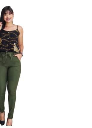 Calça feminina justa cintura alta tecido bengaline moda