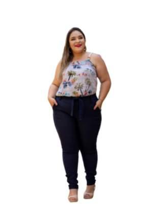 Calça feminina plus size cintura alta bengaline