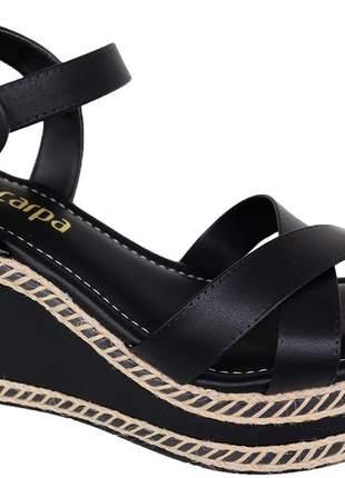 Sandália anabela casual  preto material napa feminina via scarpa leve139214327p