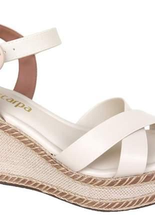 Sandália anabela neve off white feminina via scarpa confortável 139214327