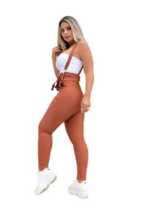 Salopet calça com suspensório roupas femininas tecido bengaline