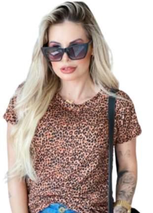 T-shirts blusa roupas femininas estampa onça