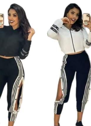 Kit com 1 calça listrada botões lateral + 1 jaqueta corta vendo moda blogueira