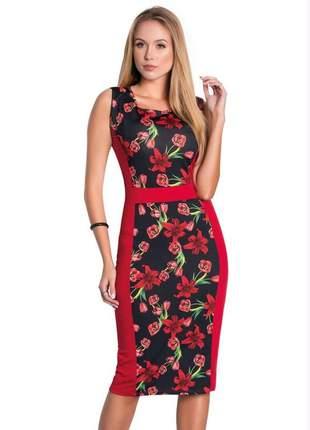 Vestido feminino eloa tubinho midi floral dark moda evangélica